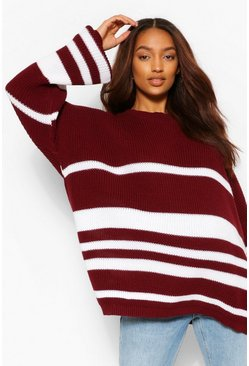 Wine red Maternity Slouchy Stripe Jumper