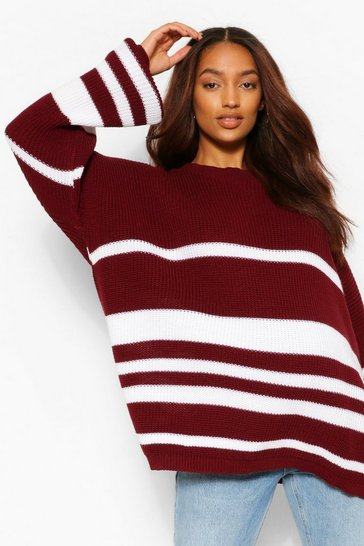 Wine red Maternity Slouchy Striped Jumper
