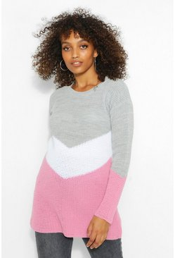 Dusky pink Maternity Oversized Colour Block Jumper