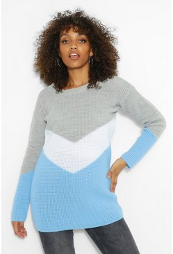 Pale blue blue Maternity Oversized Colour Block Jumper