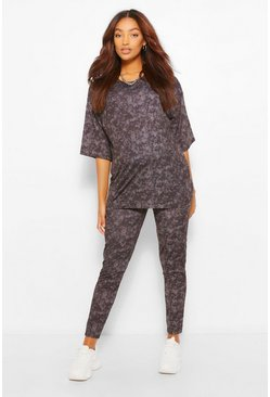 Maternity Acid Wash Tshirt And Legging Set, Charcoal grigio