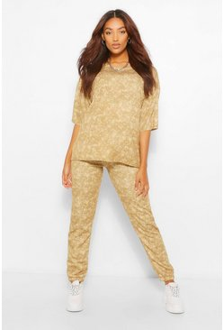 Maternity Acid Wash Jogger And Tshirt Set, Camel beige