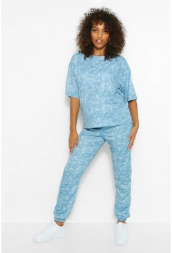 Petrol Maternity Acid Wash Jogger And Tshirt Set