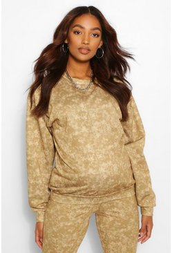 Camel beige Maternity Acid Wash Sweat Top