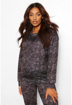 Charcoal grey Maternity Acid Wash Sweat Top