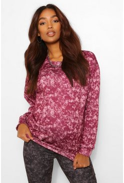 Wine red Maternity Acid Wash Sweat Top
