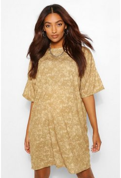 Camel beige Maternity Acid Wash Tshirt Dress