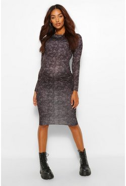 Charcoal Maternity Acid Wash Midi Bodycon Dress