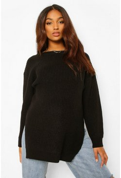 Black Maternity Side Split Long Line Jumper