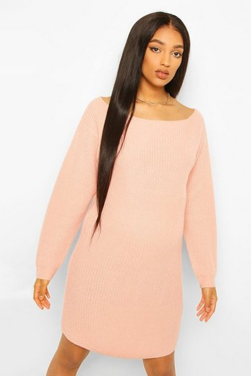 Dusky pink pink Maternity Slash Neck Jumper Dress