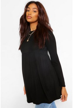 Black Maternity Long Sleeve Smock Top