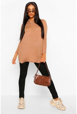 Camel Maternity Long Sleeve Smock Top
