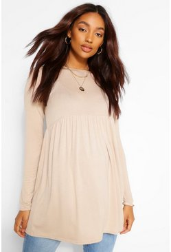 Stone beige Maternity Long Sleeve Smock Top