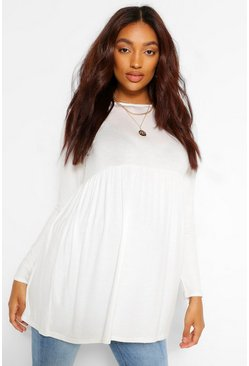 White Maternity Long Sleeve Smock Top
