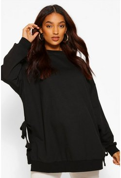Black Maternity Tie Side Nursing Sweatshirt