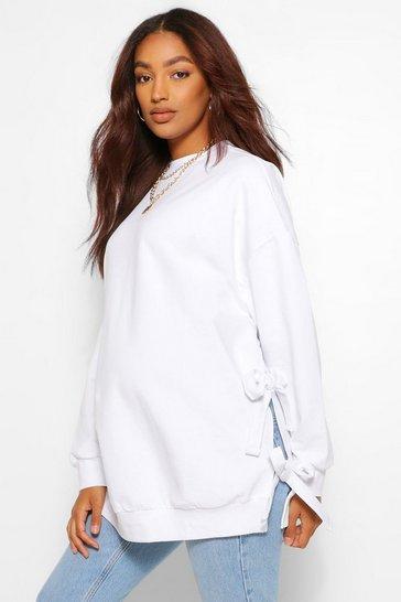 White Maternity Tie Side Nursing Sweatshirt