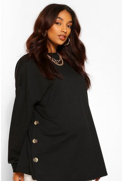 Black Maternity Side Button Nursing Sweatshirt
