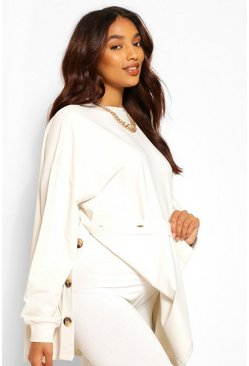 Stone beige Maternity Side Button Nursing Sweatshirt