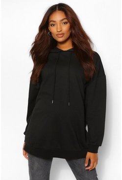 Black Maternity Oversized Side Split Nursing Hoodie