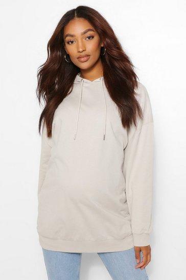 Grey Maternity Oversized Side Split Nursing Hoodie