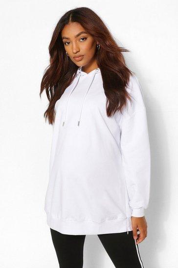 White Maternity Oversized Side Split Nursing Hoodie