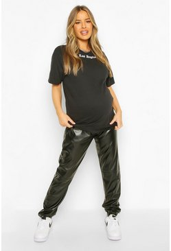 Black Maternity Over The Bump PU Jogger
