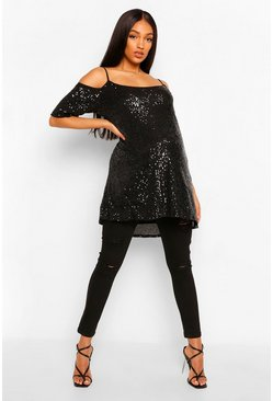 Black Maternity Cold Shoulder Tunic Sequin Top