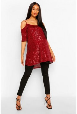 Wine red Maternity Cold Shoulder Tunic Sequin Top