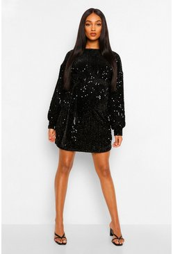 Black Maternity Tie Waist Drape Sleeve Sequin Dress