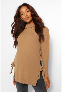 Camel Maternity Tie Side Roll Neck Jumper