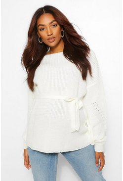 Stone Maternity Balloon Sleeve Side Split Jumper
