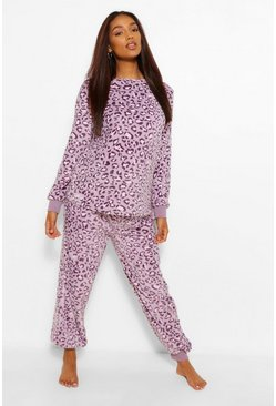 Pale grey grey Maternity Leopard Supersoft Lounge Set