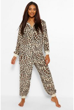 Stone beige Maternity Leopard Hooded Supersoft Onesie