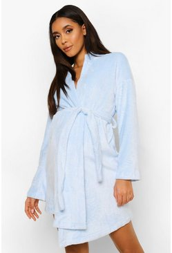 Pale blue blue Maternity Mummy Embroidered Soft Dressing Gown