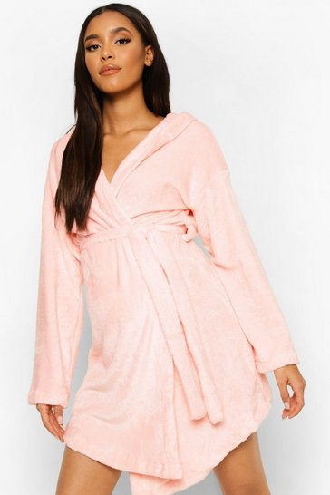 Pale pink pink Maternity Mummy Embroidered Soft Dressing Gown