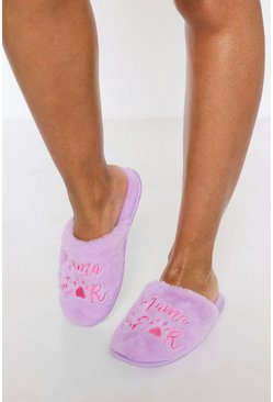 Lilac purple Mama Bear Embroidered Fluffy Slippers