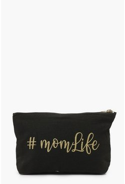 Black #MomLife Slogan Pouch