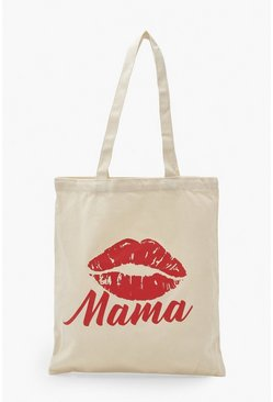 Natural beige Mama Lip Slogan Tote Bag