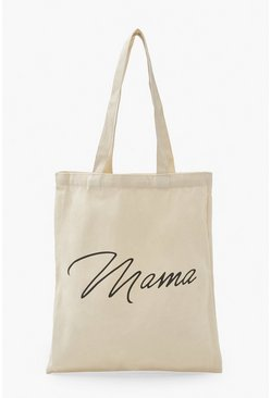 Natural beige Mama Scribble Tote Bag