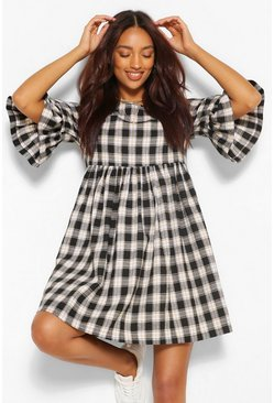 Charcoal grey Maternity Woven Check Smock Dress