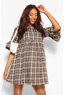 Cream white Maternity Woven Check Smock Dress