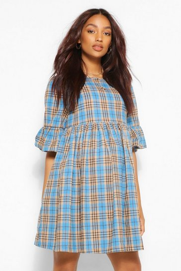 Blue Maternity Woven Check Smock Dress