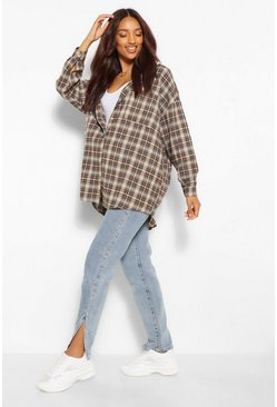 Stone beige Maternity Brushed Oversized Check Shirt