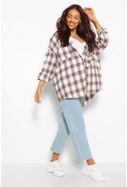 Navy Maternity Brushed Oversized Check Shirt