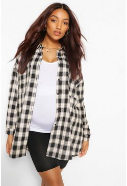 Charcoal grey Maternity Brushed Oversized Check Shirt