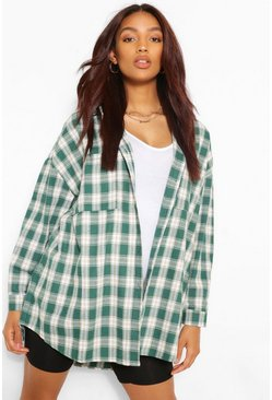 Green Maternity Brushed Oversized Check Shirt