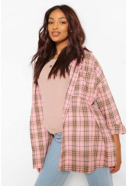 Pink Maternity Brushed Oversized Check Shirt