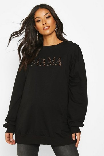 Black Maternity Mama Leopard Print Sweat Top