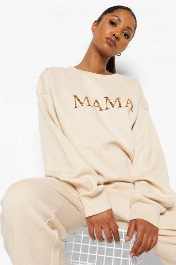 Stone beige Beige Maternity Mama Leopard Print Sweat Top