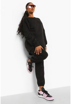 Black Maternity Crew Neck Tracksuit